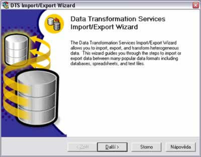 MS SQL Server - import a export dat - Data Transformation Services Import/Export Wizard