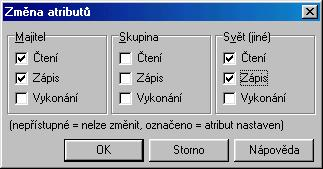 Změna atributů ve Windows Commanderu