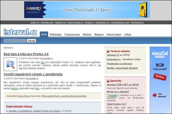 Design interval.cz v roce 2009