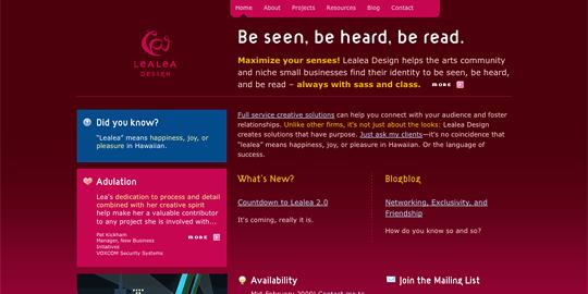 Lealea.net před předělávkou