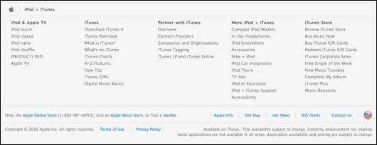 Zápatí sekce iPod + iTunes