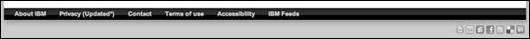 Normální zápatí webu IBM