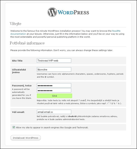 WordPress - instalace