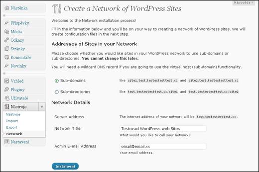 WordPress - více webů