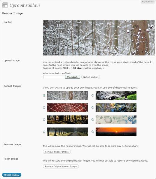 WordPress - výběr obrázku záhlaví