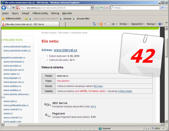 SEO Servis: Síla webu