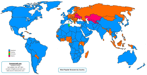 Nejpoužívanější prohlížeče v jednotlivých zemích