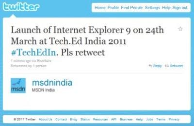 Oznámení indického MSDN na Twitteru