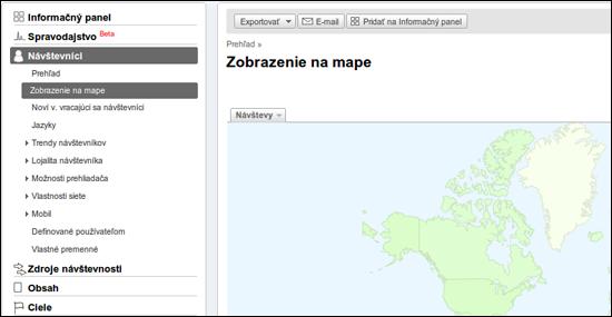 Snímok zobrazenia na mape v Google Analytics