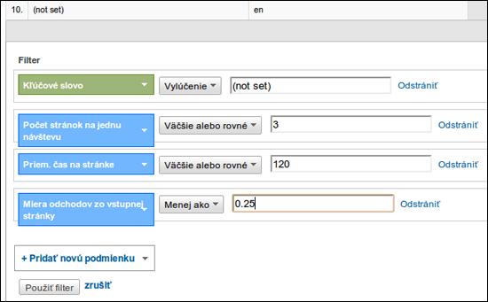 Nastavenie rozšíreného filtra v Google Analytics