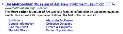 Původní podoba Google Sitelinks