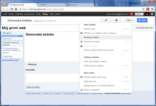 Screenshot - Google Sites