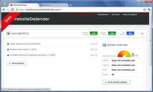 Screenshot - Website Defender