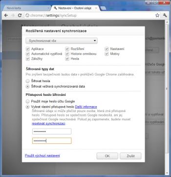 Google Chrome - ochrana synhronozačního účtu