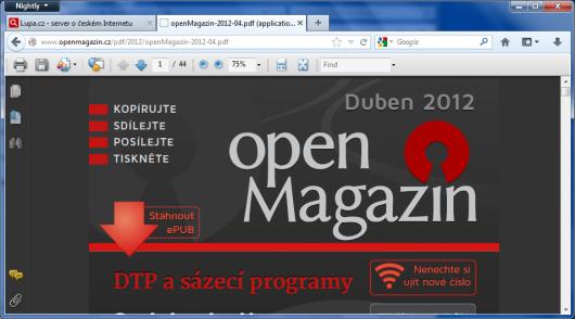 Mozilla Firefox a experimentální podpora PDF