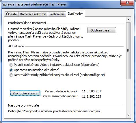 Flash Player - nastavení aktualizací