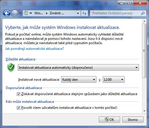 Automatické aktualizace ve Windows 7