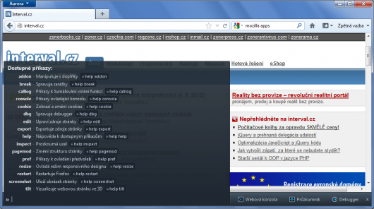 Firefox 16 Alfa - Developer Bar