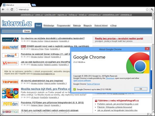 Google Chrome 21 pro Metro