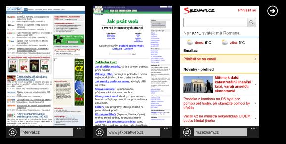 Fotky webů v mobilním Exploreru, kliknutím se dostanete na více