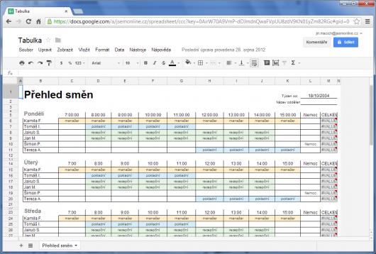 Google Docs - tabulka