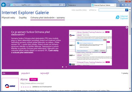 Internet Explorer 10 - ochrana před sledováním