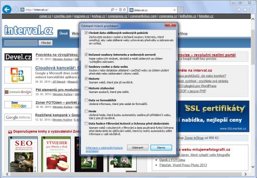 Internet Explorer 10 - odstranění historie