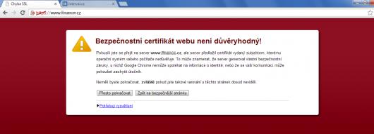 Varovná hláška nedůvěryhodnýmch SSL certifikátů