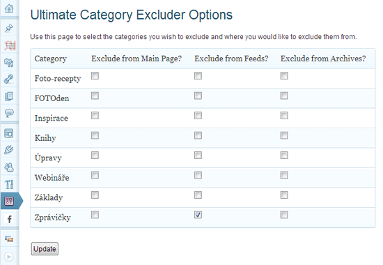 Ultimate Category Excluder Options