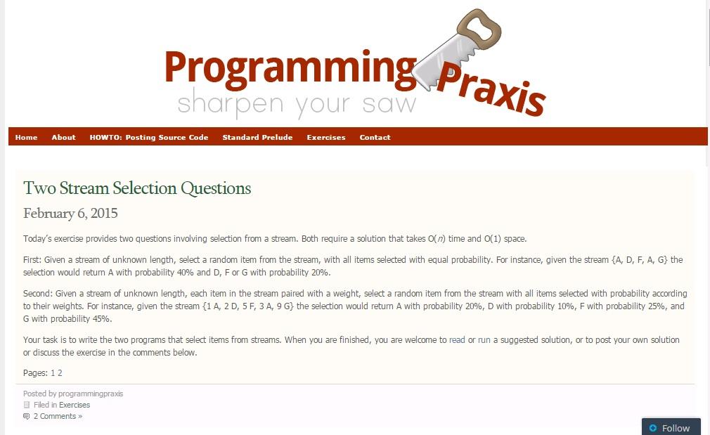 Programming Praxis