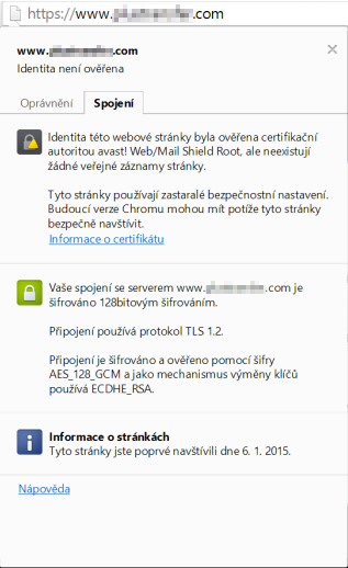 Avast a EV SSL certifikát