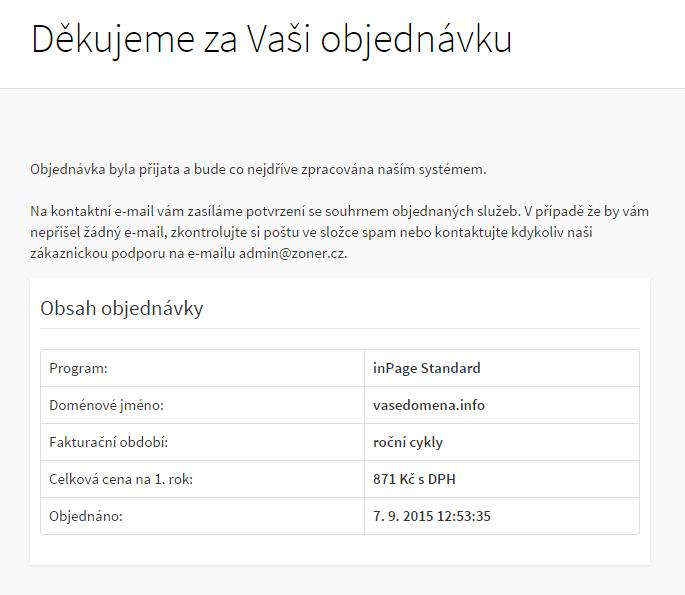 Dokončení objednávky inPage.cz