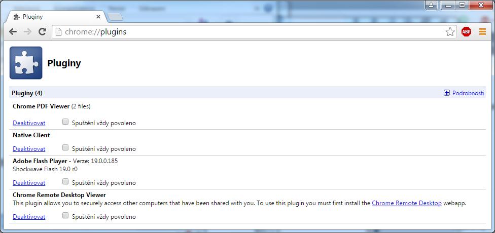 vypnutí pluginů v Google Chrome