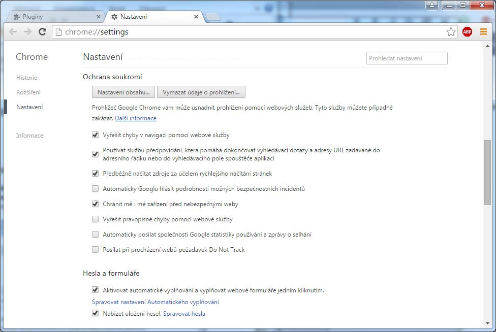 Chrome vypnutí předběžného načítání