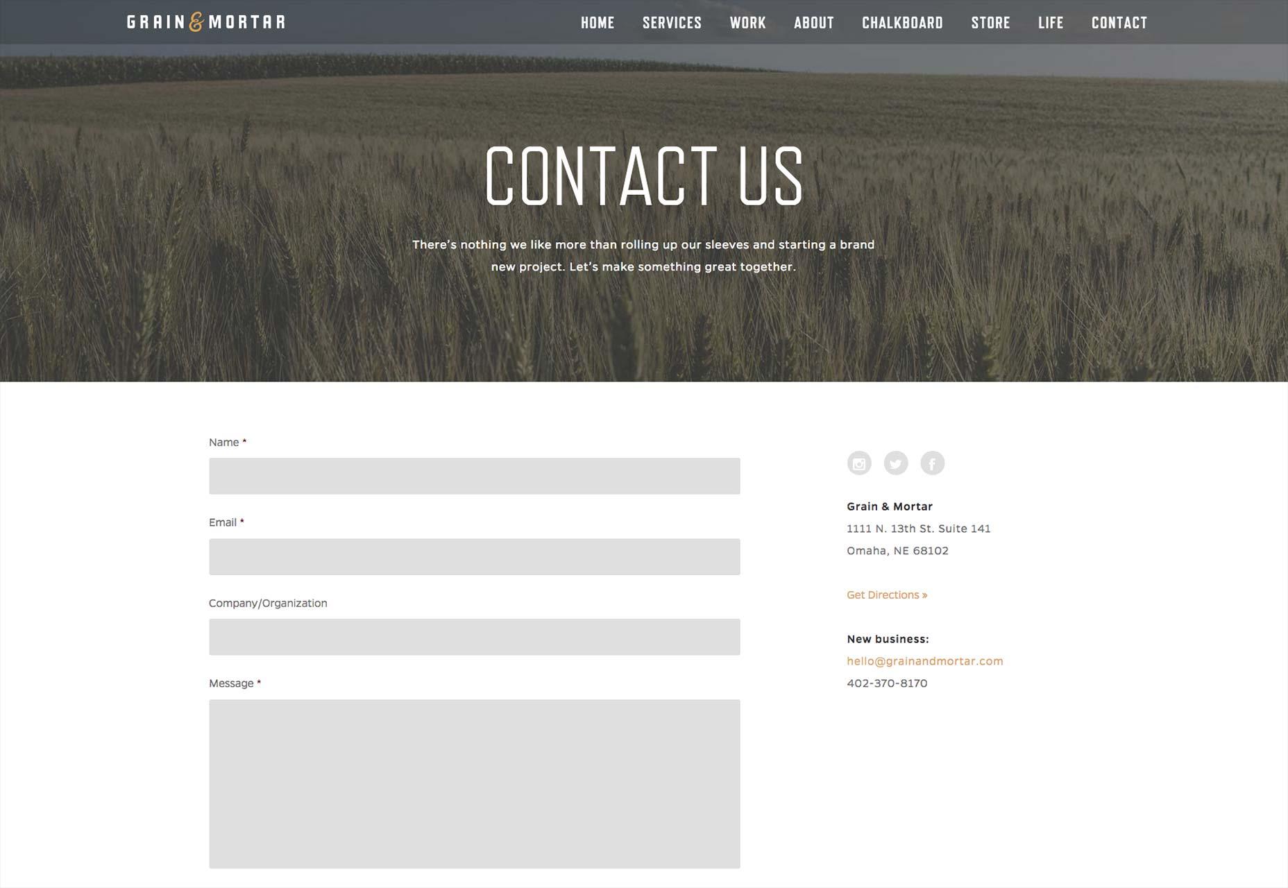 grain a mortart kontaktní stránka