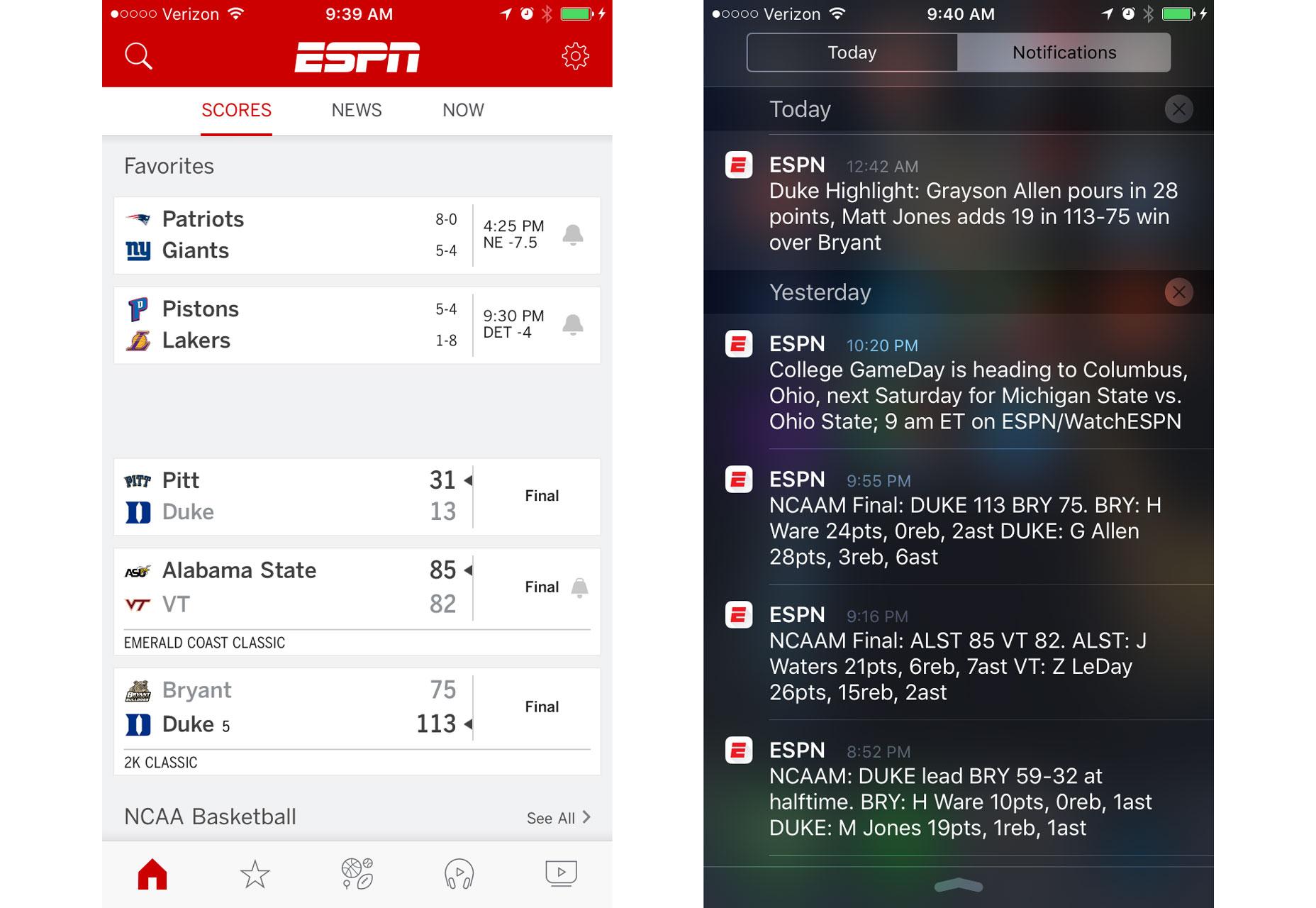 personalizace na ESPN