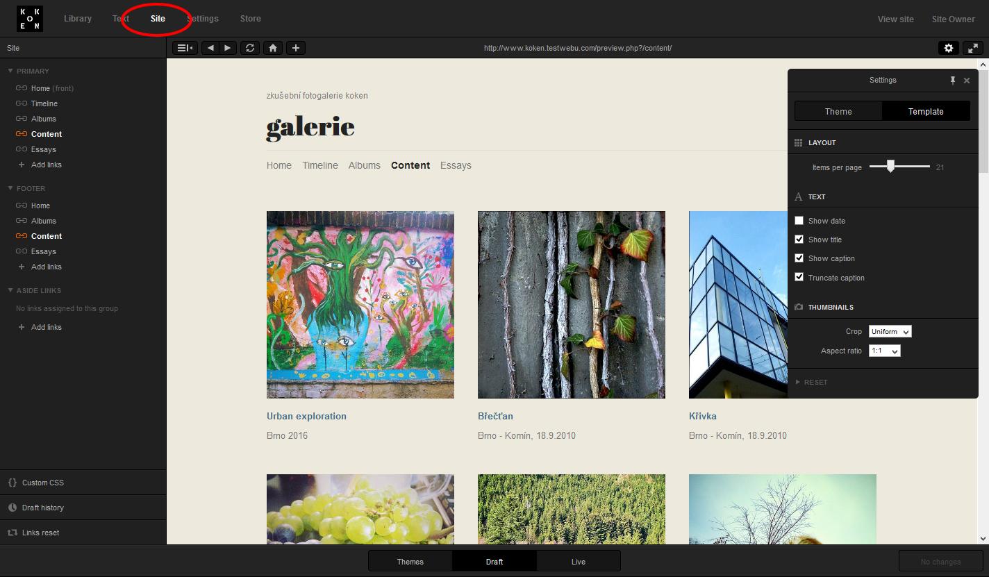 Menu Site: úpravy šablony a rozložení prvků na stránce