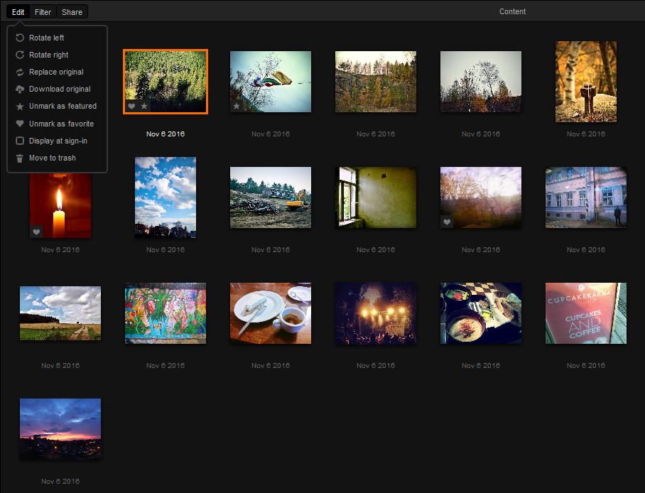 V knihovně můžete fotky upravovat, rotovat i nahradit originál novým souborem